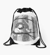 In The Woods with Squirrel  Drawstring Bag