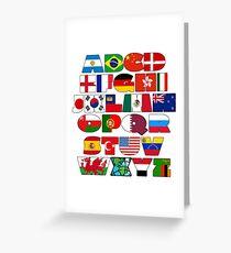 I love world, flags alphabet Greeting Card