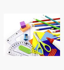 School items in disorder Photographic Print