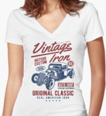 Hot Rod Car Retro Vintage Women's Fitted V-Neck T-Shirt