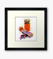 School and stationery objects Framed Print