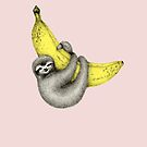 Bananas about you - on pink by Perrin Le Feuvre