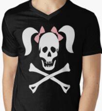 Skull Crossbones Pigtails Men's V-Neck T-Shirt