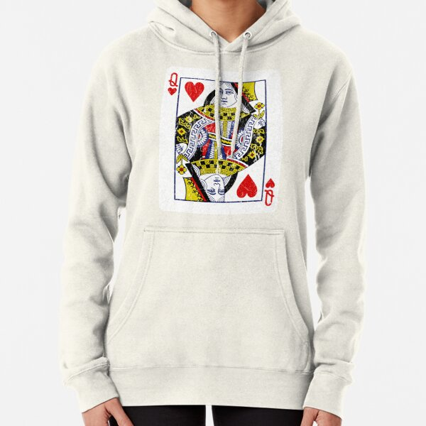 Queen of Hearts Playing Card Pullover Hoodie