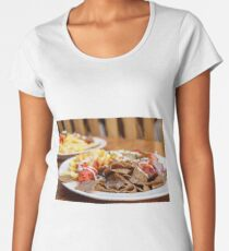 Strips of fried meat with fried potatoes and ketchup on a plate Women's Premium T-Shirt