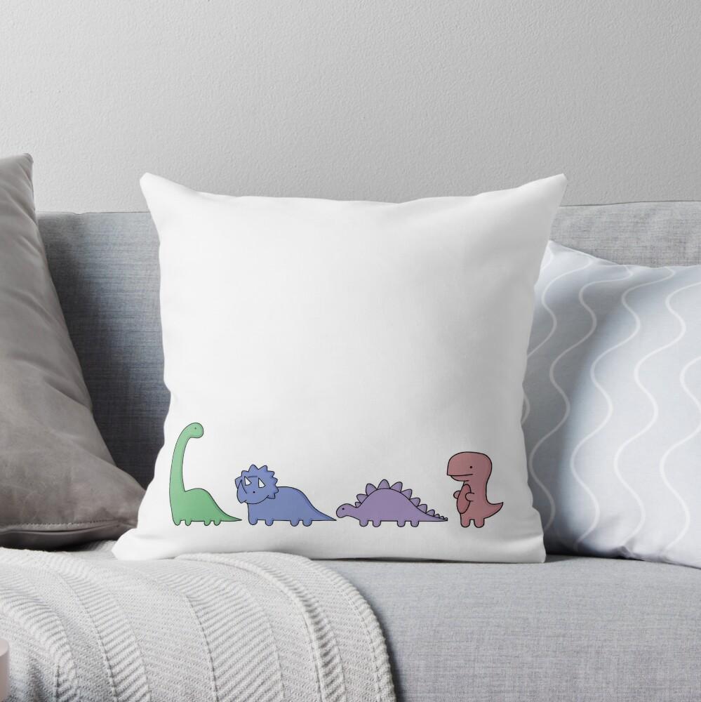 Dinosaur Illustrations Throw Pillow