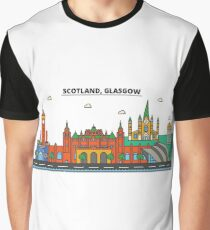 Scotland, Glasgow City Skyline Design Graphic T-Shirt