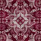 Dark cherry red dirty denim textured boho pattern by micklyn