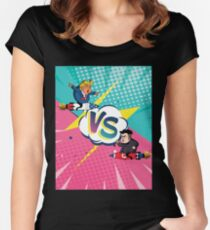 Rocket Man Donald Trump vs Kim Jung Un T-Shirts Women's Fitted Scoop T-Shirt
