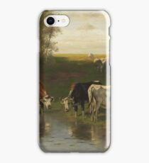 Christian Friedrich Mali - cattle herder at the ford (1890). iPhone Case/Skin