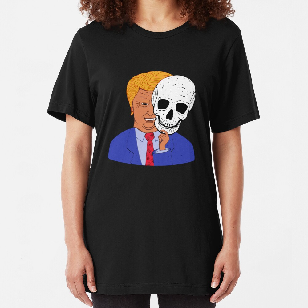 Scary Trump with Halloween Skeleton Mask Slim Fit T-Shirt
