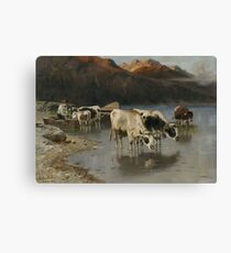 Christian Mali shepherd with cows on Seeufer Canvas Print
