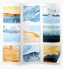 Abstract Watercolour Seascapes & Landscapes Mosaic Poster