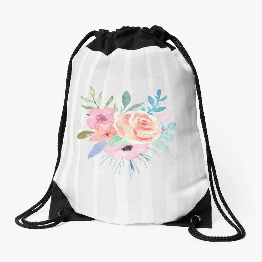 Pastel Posies and Stripes Drawstring Bag