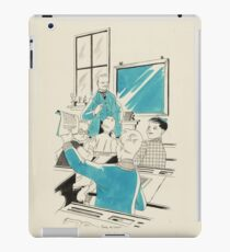 Dickie holds up a newspaper in a classroom, Eddy de Smet iPad Case/Skin