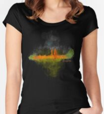 COL BOG Bogotá Colombia City Skyline watercolor Hq v4 Dark Women's Fitted Scoop T-Shirt