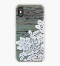 Distressed floral white lace western country teal barn wood iPhone Case