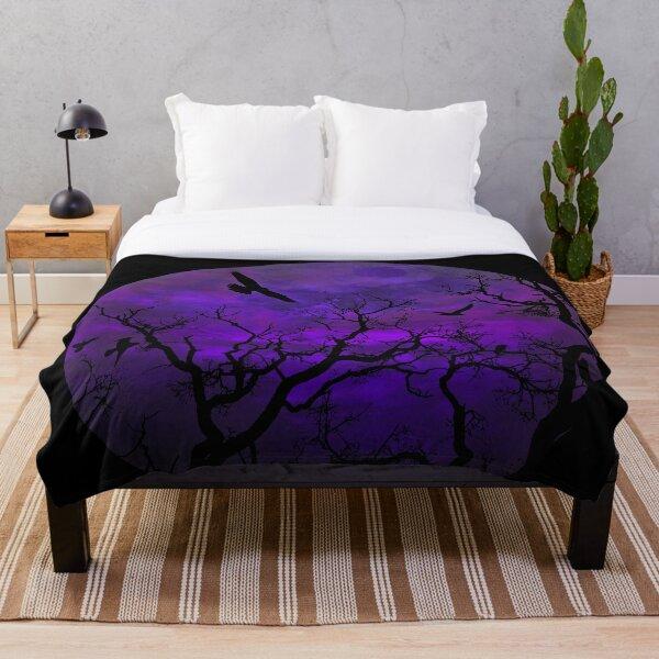 Purple Gothic Moon Throw Blanket