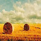 watercolor rural landscape country wheat fields hay bales  by lfang77
