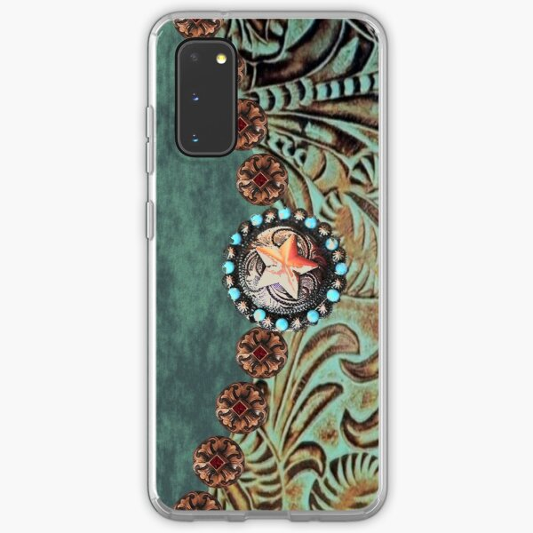 Rustic cowboy cowgirl western country green teal leather  Samsung Galaxy Soft Case