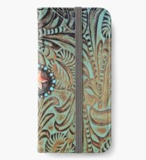 Rustic cowboy cowgirl western country green teal leather  iPhone Wallet/Case/Skin