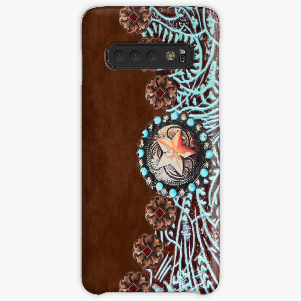 Primitive cowboy cowgirl western country brown turquoise leather  Case & Skin for Samsung Galaxy
