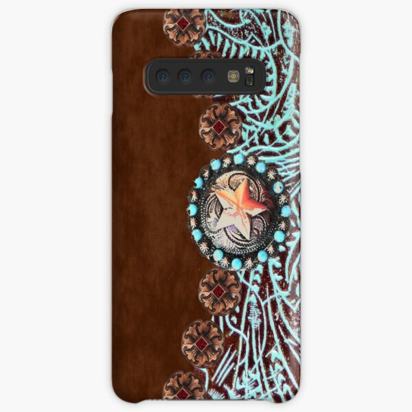 Primitive cowboy cowgirl western country brown turquoise leather  Samsung Galaxy Snap Case