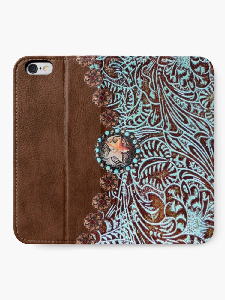 Alternative Ansicht von Primitive Cowboy Cowgirl westlichen Land braun Türkis Leder iPhone Flip-Case