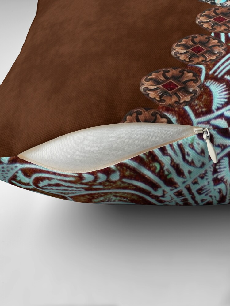 Alternate view of Primitive cowboy cowgirl western country brown turquoise leather  Throw Pillow