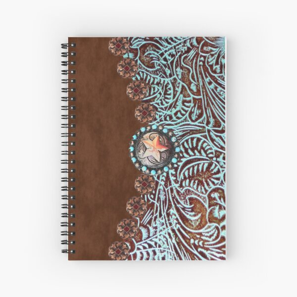 Primitive cowboy cowgirl western country brown turquoise leather  Spiral Notebook