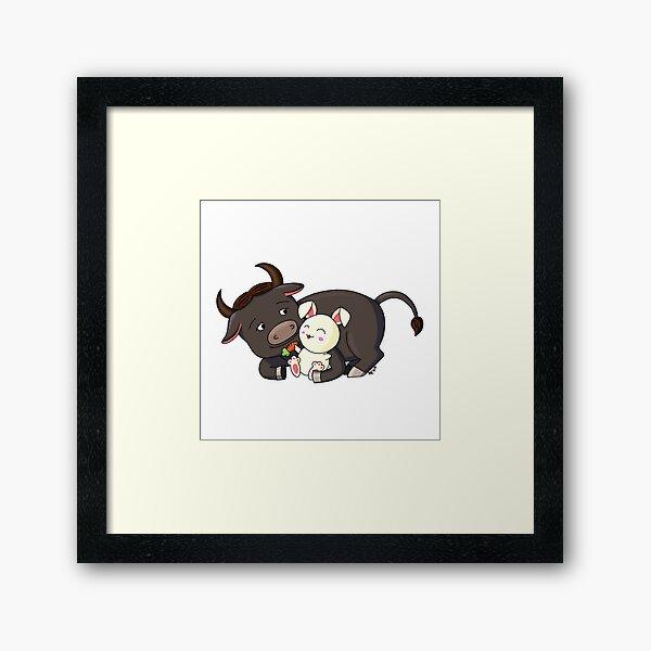 Ox and Rabbit couple Framed Art Print