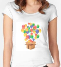Cardbox and Colorful Balloons Isolated on White Background. Single Open Paper Box Women's Fitted Scoop T-Shirt