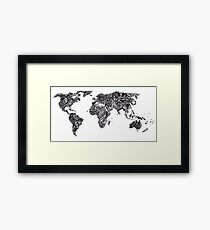 World Map in a parallel universe Framed Print