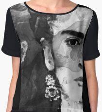 Black And White Frida Kahlo by Sharon Cummings Chiffon Top