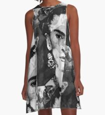 Black And White Frida Kahlo by Sharon Cummings A-Line Dress