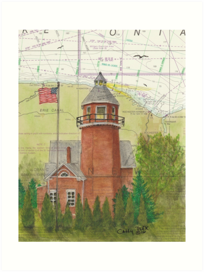 Braddock Point Lighthouse NY Cathy Peek Nautical Chart Map by Cathy Peek