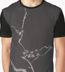 Sakura blossom branch with flowers artistic design Japanese Zen illustration on black background art print Graphic T-Shirt