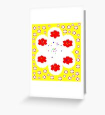 Yellow Red Poppy Montage  Greeting Card
