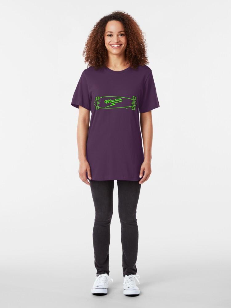 Alternate view of Skate Wausau - Neon Green Slim Fit T-Shirt