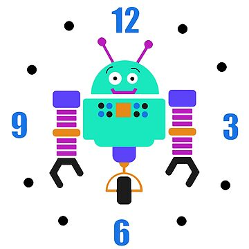 Colorful Robot Wall Clock by Whimsydesigns