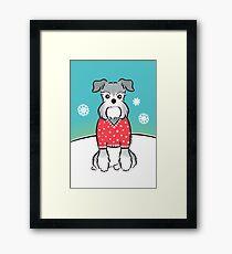 Schnauzer in Red Polka-dot Sweater Framed Print
