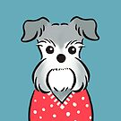 Schnauzer in Red Polka-dot Sweater by Zoe Lathey