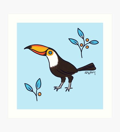 Friendly Toucan with Berries Art Print