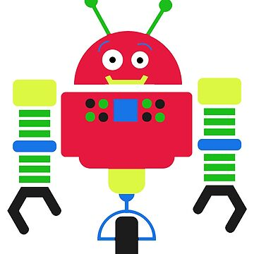 Colorful Robot Sticker by Whimsydesigns