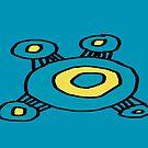 Teal yellow alien pattern by HEVIFineart