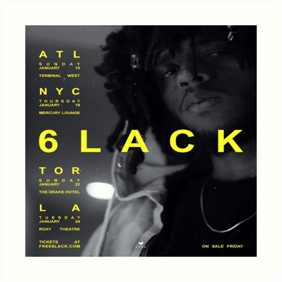 6lack Free 6lack Tour Art Prints By Veryraree Redbubble
