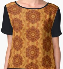 Orange Abstract Flowers Chiffon Top