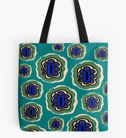 Teal, olive, cream and blue floral pattern Tote Bag