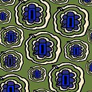 Olive green yellow and blue floral pattern by HEVIFineart