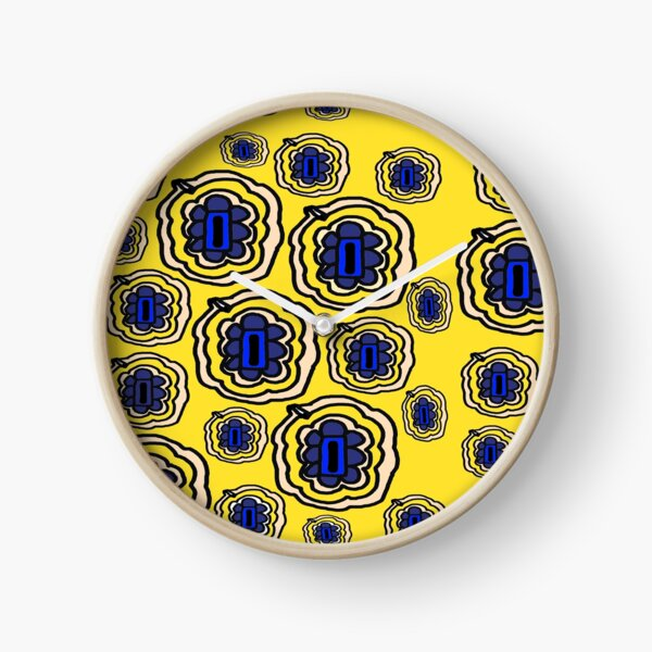 Lemon yellow and blue floral pattern Clock